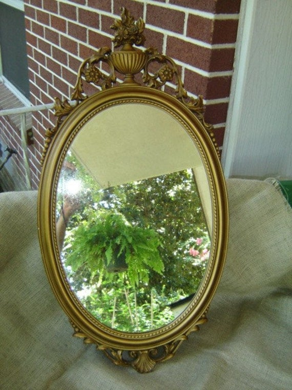 Vintage Large Ornate Syroco Oval Mirror