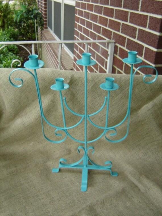 Vintage Upcycled Metal Turquoise Blue Candelabra Candleholder  CLEARANCE