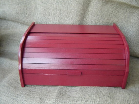 Upcycled Red Wooden Roll Top Bread Box Farmhouse Chic  CLEARANCE