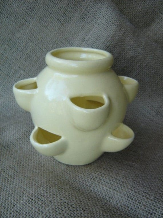 Vintage Yellow Pottery Strawberry Pot Planter Camark By Magark