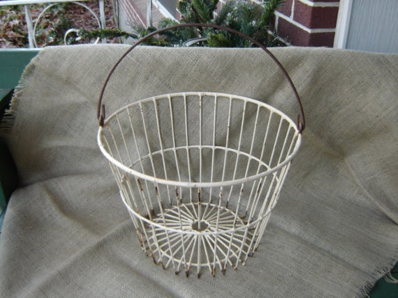 Vintage Wire Coated Egg Basket  Farmhouse Chic Chippy Cottage