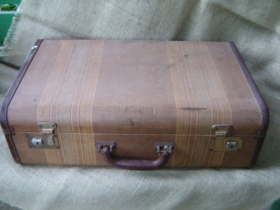 Vintage Tweed Suitcase 1940s Hard Case  RESERVED for girlygirlpink