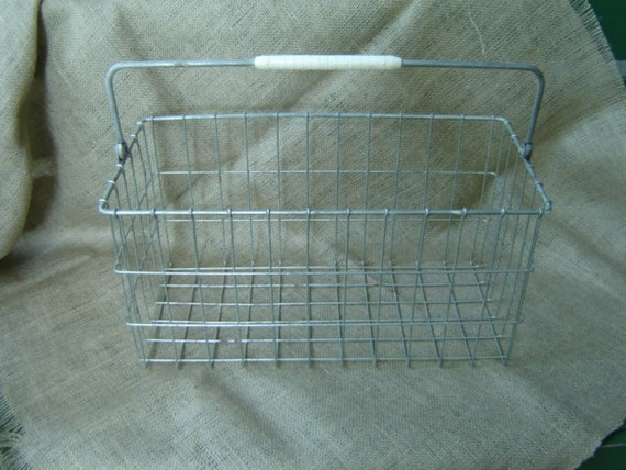 Vintage Wire Milk Basket With Handle Industrial Farmhouse Chic