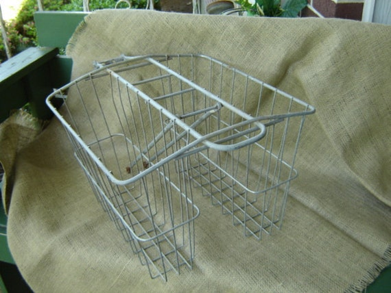 Vintage Wire Bicycle Basket  Farmhouse Chic Cottage