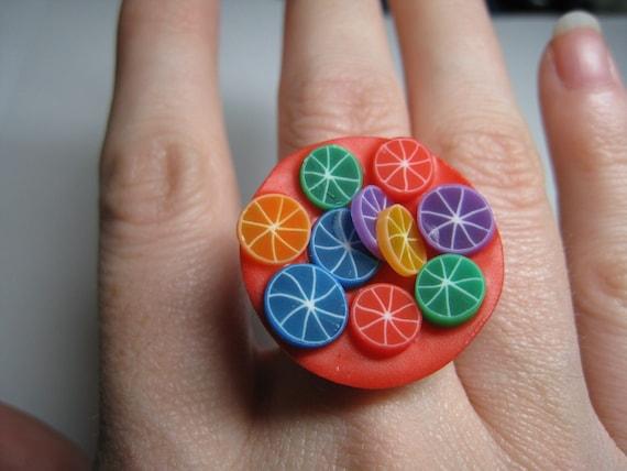 Delicious Rainbow fruit ring OOAK SALE