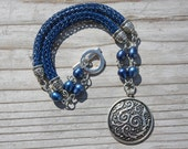 Deep Ocen Blue Hand Knit Chain with Sterling Silver Pendant and Blue Freshwater Pearls, OOAK