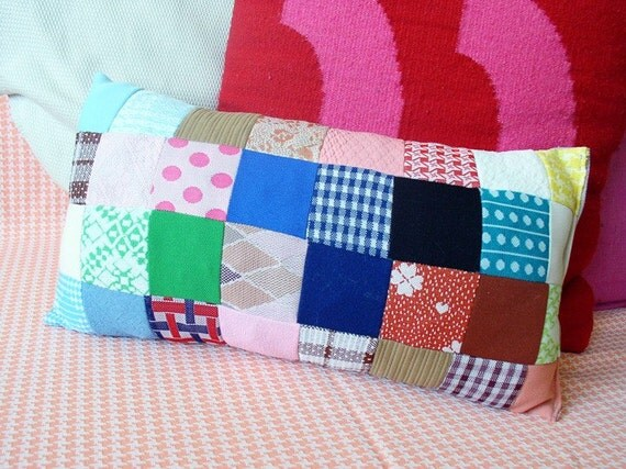 PRICE REDUCED - Handmade granny-style throw pillow - vintage