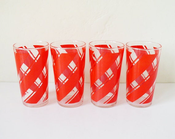Red vintage striped glass tumblers, set of four