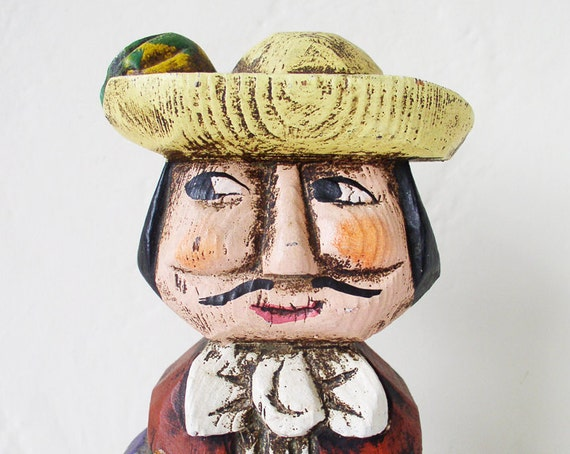 Wooden vintage male doll, figurine, Latin American, South American