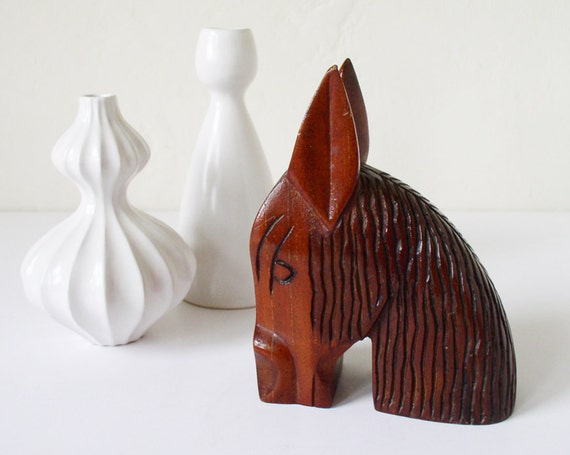 Vintage wooden donkey head carving