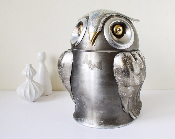 Silver owl shaped container and cookie jar