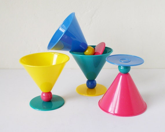 RESERVED for Orsalia - Post modern cone-shaped plastic cups