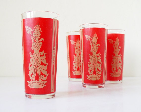 Vintage red and gold Asian glass tumblers