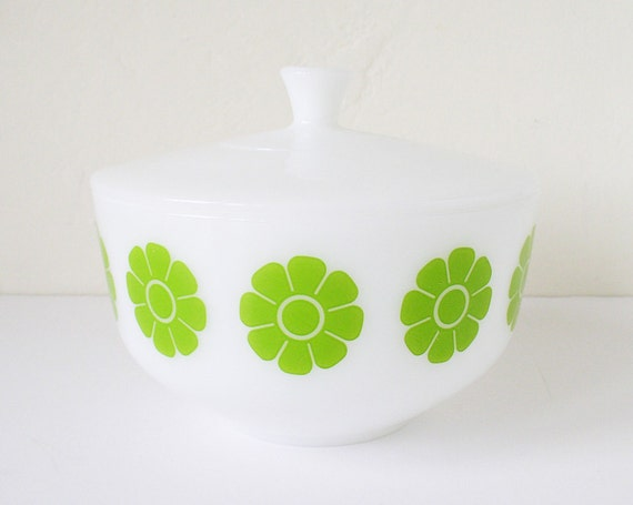 White glass bowl with green flower design