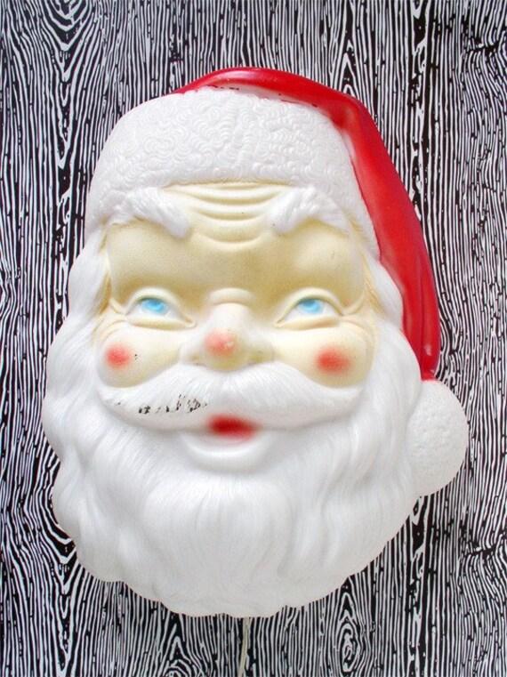 Large Plastic Light Up Santa Head Christmas Decoration