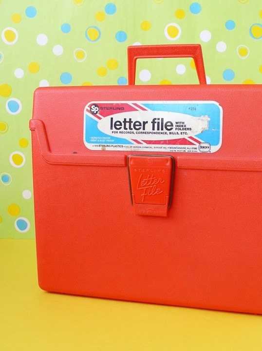 Acrylic Box Letters : Orange letter file plastic box storage organization by