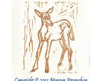 Young Deer - hand printed original Linocut