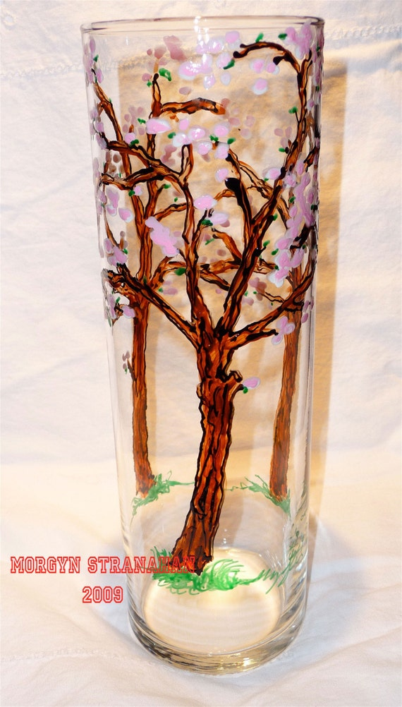 Cherry Blossom hand painted Glass Vase