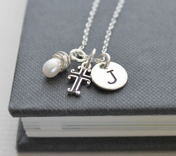 Personalized Necklace, Sterling Silver Hand Stamped Initial, Cross, Pearl .. Blessings ..... Hand Stamped Jewelry