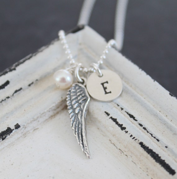 Guardian Angel Necklace..Personalized Necklace Hand Stamped Necklace Sterling Silver Angel Wing Necklace Rememberance Necklace