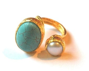Turquoise - Pearl 18Kgold plated sterling silver ring