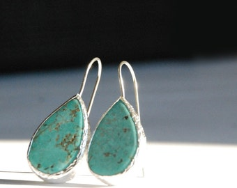 Turquoise Drop Silver Earrings