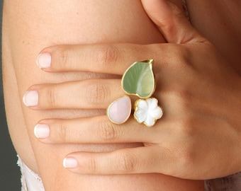 Spring Flower Ring with Jade, Quartz and Mother of Pearl Stones