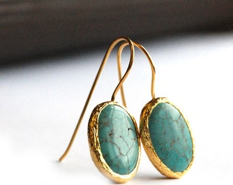 Turquoise Oval Earrings in silver coated with 18Karat Gold blue green drops, dangling drops, textured, small drops, with hook