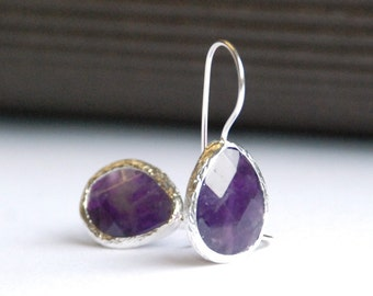 Deep Purple Amethyst Faceted Drop Earrings