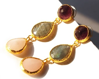 Three Stones Earring with Pink Quartz, Purple Amethyst and Grey Labradorite Stones