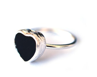 Black Onyx Silver Heart Ring, made with 925K sterling silver, valentines day gift, black heart ring, Gothic jewelry, black onyx ring, jewel