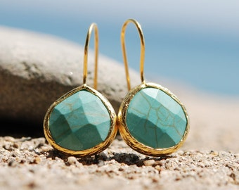 Facetedly cut Turquoise Drop Earrings