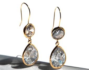 Diamond like Angelina Style Drop Earrings