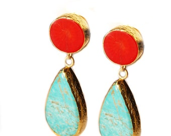 Turquoise and Coral Earrings made with sterling silver coated in 18K gold, big long teardrop, dangling turquoise, natural gemstone earrings