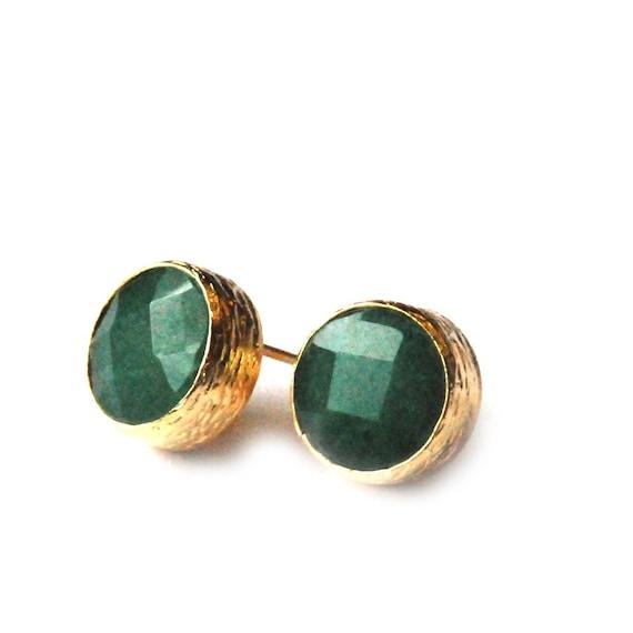 Green Jade Stud Earrings