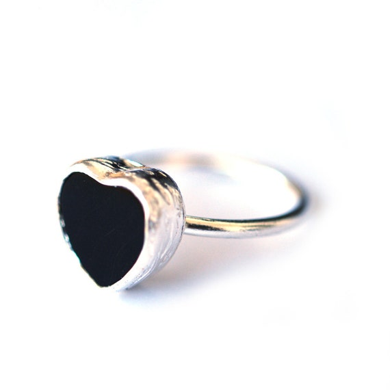 The BlackOnyx Heart Silver Ring