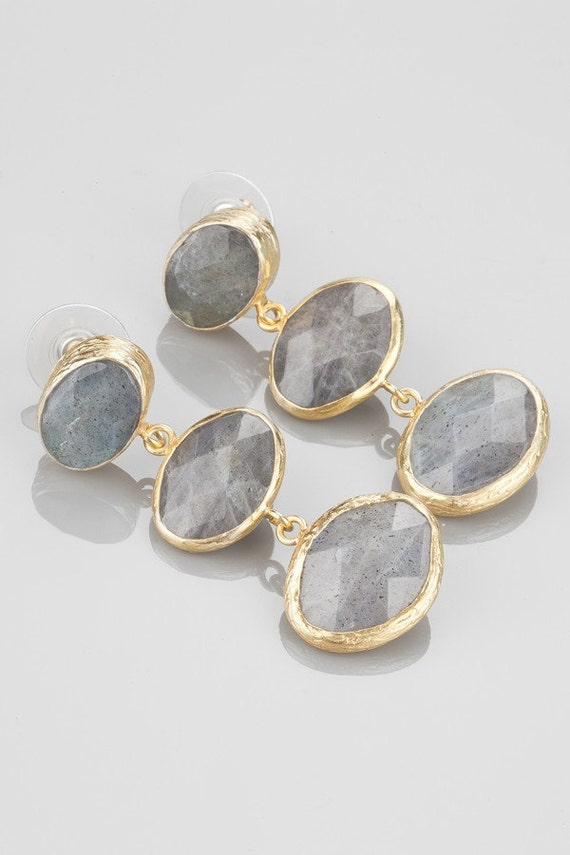 Verticle Three Small to Large Grey Labradorite Stones Earring