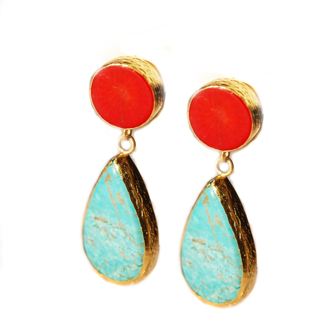 turquoise and coral earrings made with sterling silver coated