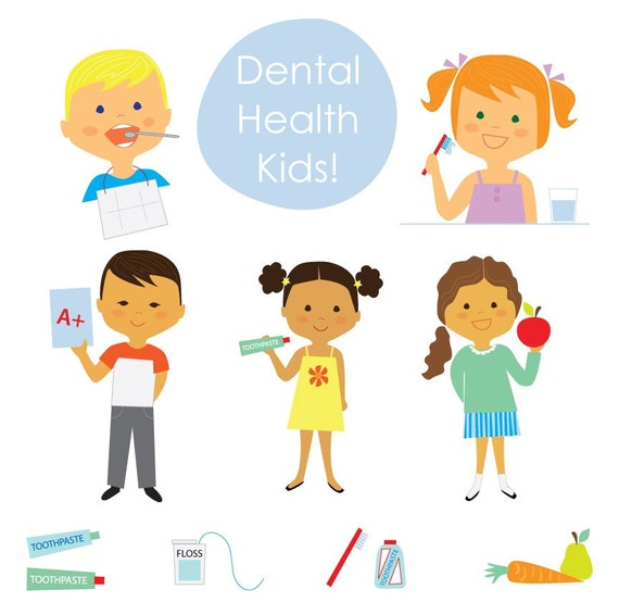 CLIP ART Dental Health Kids by olliegraphic on Etsy