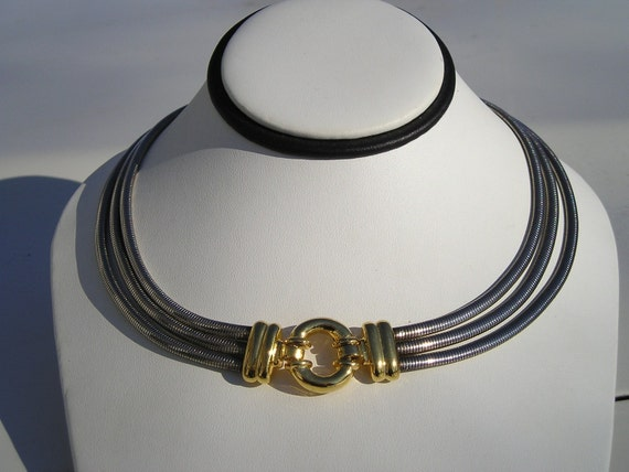Vintage Snake 3 strand gold and silver retro necklace
