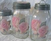 Shabby Rose Jars. Chic.  Three