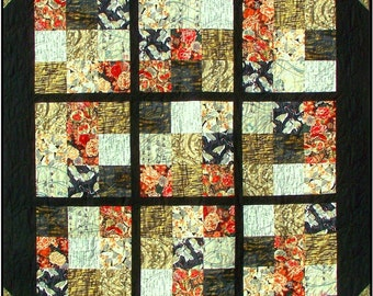 JOY OF SUDOKU Quilt Pattern - B J Q 109 --- Printable Download Pdf E-Pattern Diy Free Shipping Digital Pattern Black Gold White Red Asian