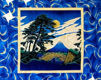 MOUNTAIN VIEW Wall Hanging Quilt E-Pattern - B J Q 119 --- Printable Download Pdf  Diy Free Shipping Asian Fabric Blue Gold Star Tutorial