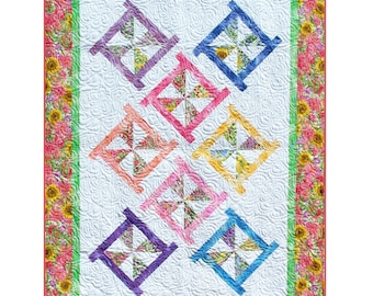 PINWHEEL POSIES Quilt Pattern - B J Q 115 --- Printable Pdf E-Pattern Diy Free Shipping Digital Pattern Pink White Yellow Blue Green Purple