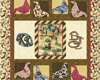 KICKIN KERCHIEFS Quilt Pattern - B J Q 125 --- Printable Download Pdf E-Pattern Diy Free Shipping Digital Pattern Bandana Kerchief Cow Girl