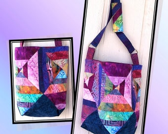 DONT WORRY, Be HIPPY Tote Bag Pattern - B J Q  124 --- Printable Download Pdf E-Pattern Diy Free Shipping Digital Pattern Blue Purple Pink