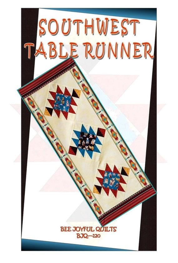 SOUTHWEST Table Runner Pattern - B J Q 120 --- Printable Download Pdf E-Pattern Diy Free Shipping Digital Pattern Terra Cotta Teal Turquoise