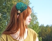 Vibrant Peacock Sword Feather Headband in Teal, Blue, Green with Wood Button