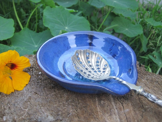 Ceramic spoon rest in Royal Blue and Turquoise