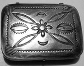 Vintage Silver Pill Box Embossed 1950s 1 3/4 inch SALE